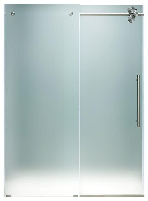 """VIGO 48-inch Frameless Shower Door 3/8"""" Steel Hardware, Frosted/Stainless Steel, modern-showers"""