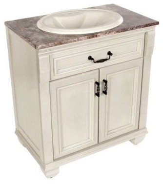 St Paul Classic 30 In Bathroom Vanity In Antique White With Stone Effects T
