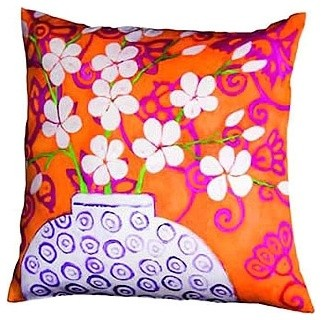 Mariska Meijers In Bloom Pillow, Orange, Large contemporary-decorative-pillows