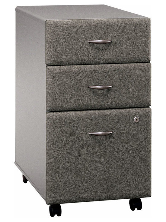Bush Business - Three Drawer Filing Cabinet in Pewter Colored - This high-quality Three Drawer Pewter Colored  File Cabinet has two storage drawers for accessories and a locking bottom drawer for secure storage.  Finished in rich Pewter, this versatile cabinet rolls effortlessly on casters and can nestle under most office desks.  Stylish and durable, this three drawer file cabinet has wheels at its base for ultimate mobility.  Featuring a fully extendable file drawer on ball bearings, this piece offers durability, security and style.  Need an attractive yet functional filing cabinet that will allow you to store all of your personal documents? * Two storage drawers for accessories. Fully extending file drawer with ball-bearing glides. Locking bottom drawers. Smooth casters for portability. Able to slide under desks. Pewter finish. 15.512 in. W x 20.276 in. D x 28.150 in. H