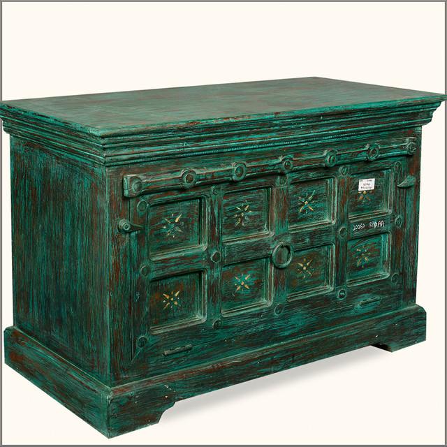 Emerald Green Drawbridge Reclaimed Wood Storage Cabinet