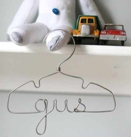Personalized Wire Hanger by Lila Frances eclectic hooks and hangers