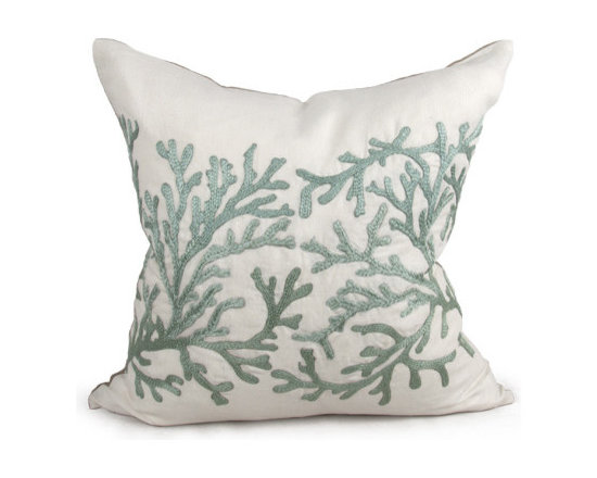 Kathy Kuo Home - Portland Coastal Beach Seafoam Green Square Pillow - Hand embroidered pillows in linen and silk are sumptuously oversized and generously filled with down and feathers - tossed on a bed or a gathered on a sofa, create a lasting personal touch.