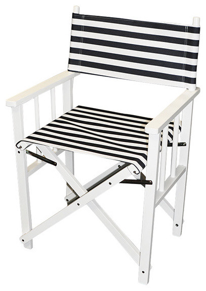 Blue White Stripe Folding Director Chair Contemporary Outdoor Folding Ch