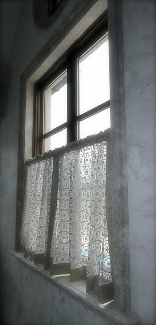 Hand-made Lace cafe' curtains with Taffeta Banding traditional