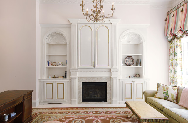 White Painted Custom Built-In with Fireplace Surround traditional-furniture