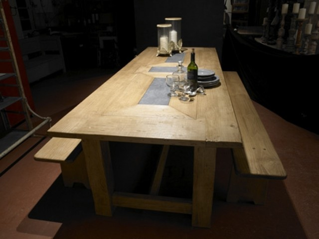 Dining Table With Stone Inlay