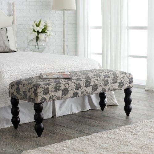 Altea Upholstered Bedroom Bench - Gray Floral traditional-bedroom-benches