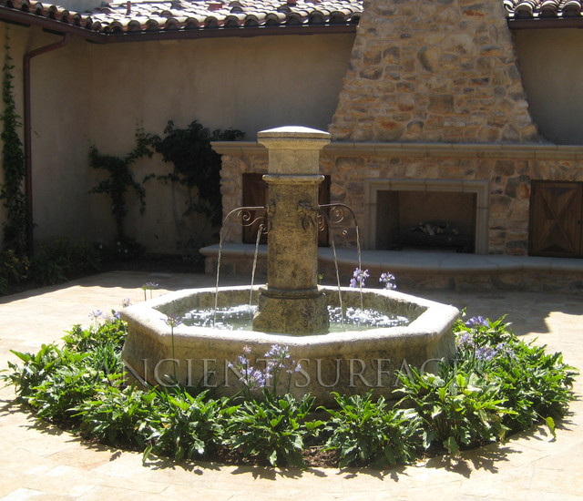 Mediterranean Exterior Of Home With Pathway Fountain: Outdoor Fountains And