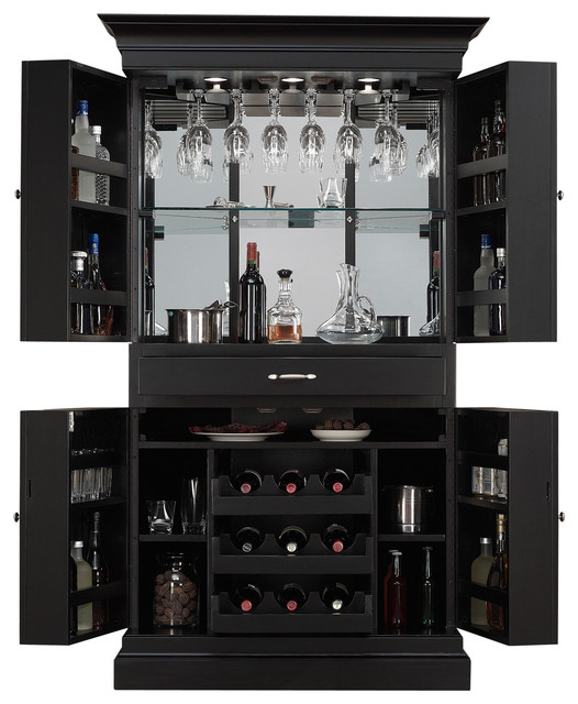 Arianna Black stain Home Bar Wine Cabinet Corner Server