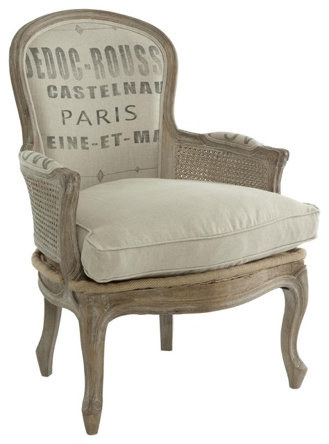 French Country Grain Sack Burlap Occasional Chair traditional-armchairs