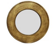 Antique Gold Round Calligraphy Wall Mirror modern-mirrors