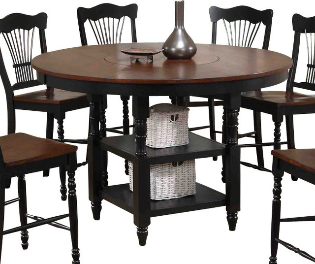 Canterbury Harvest Counter Height Table with Lazy Susan  : traditional dining tables from www.houzz.com size 640 x 536 jpeg 91kB