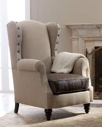 Wyatt Burlap & Leather Chair traditional-dining-chairs