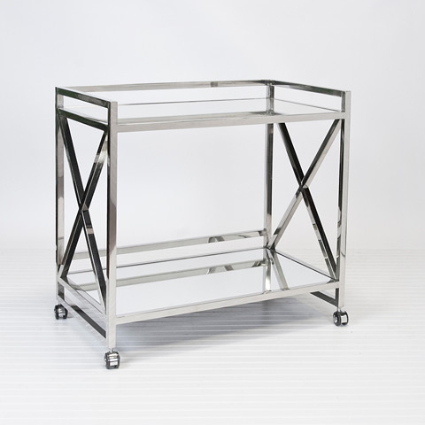 World's Away Gerard Polished Stainless Steel Bar Cart contemporary-bar ...