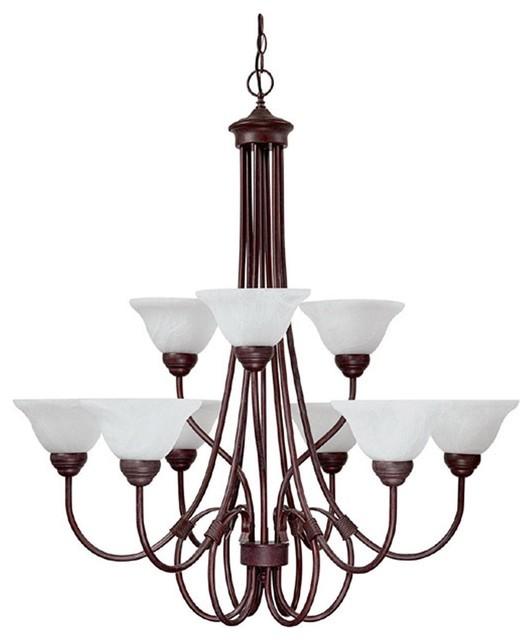 Nine Light Bronze Up Chandelier modern-chandeliers
