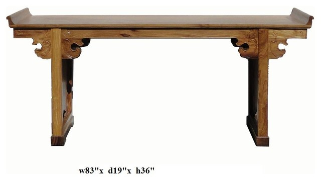 Chinese yellow rosewood ru yi dragon long altar console table for Long side table