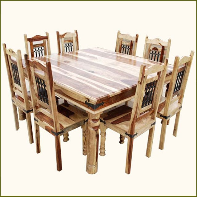 Elegant Square Transitional Solid Wood Dining Room Table And Chair Set For 8