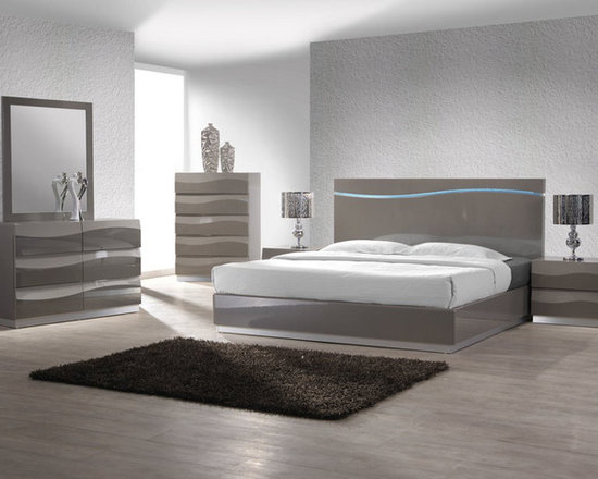 Chintaly Imports - Delhi 4 PC King Bedroom Set - Wood: MDF and Plywood. Accent wave design on headboard. Moisture proof and Fire Resistant.