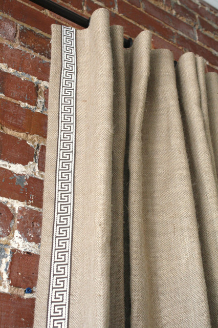 Burlap Knife Pleated Drapery Panel With Greek Key Trim By Martha Ash Contemporary Curtains