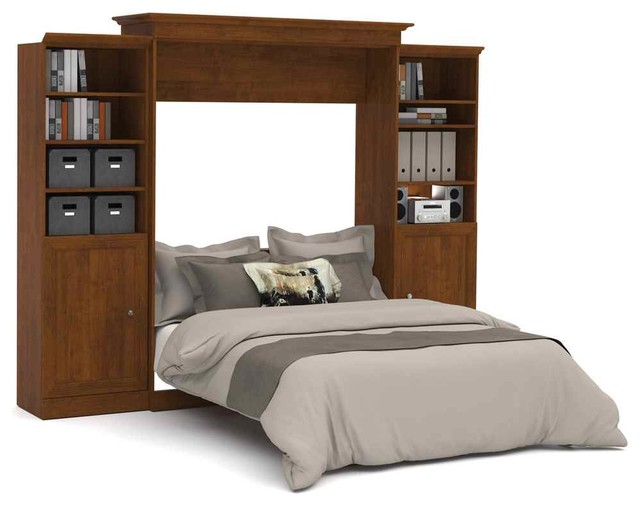 115 in queen wall bed with storage units in tuscany brown for Headboard storage unit