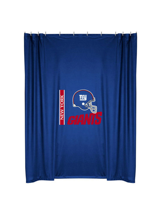 Sports Coverage - NFL New York Giants Football Locker Room Shower Curtain - Features: