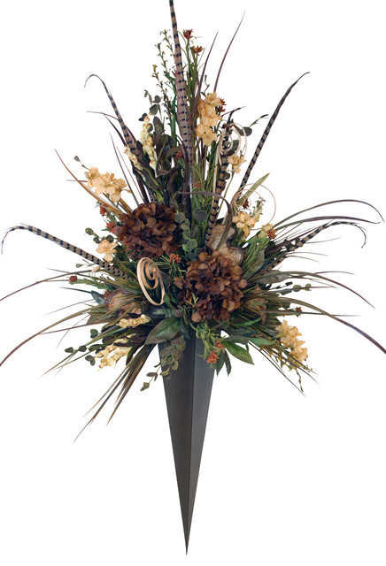 Wall Sconce For Dried Flowers : Giant Floral Arrangement in Metal Vase Wall Sconce - Rustic - Artificial Flower Arrangements ...