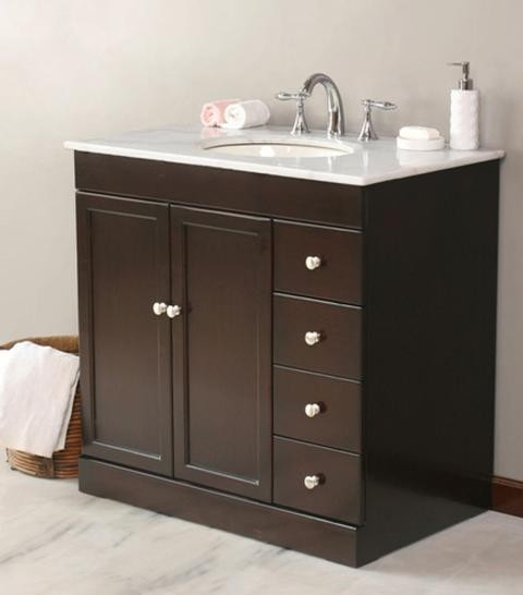 "Virtu USA 36"" Modena Espresso White Marble Single Sink"