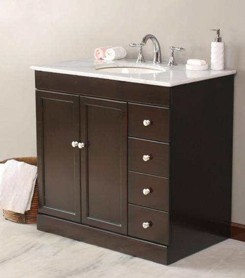 virtu usa 36 modena espresso white marble single sink