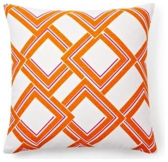 Duralee Esquire Orange Trellis Geometric Pillow contemporary-decorative-pillows