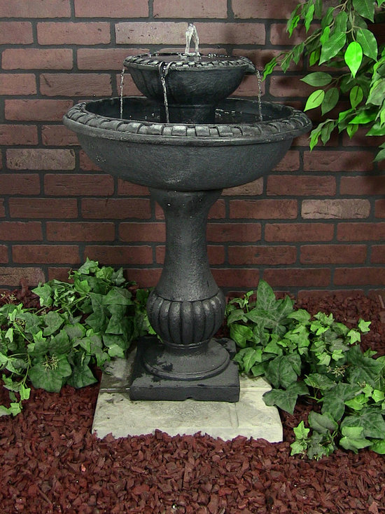 "Outdoor Classics - Gardens Solar on Demand Two Tiered Birdbath Fountain - Dark fountains are a great contrast to typical light colored homes.  This fountain makes a nice area for birds to ""mingle"" as well."