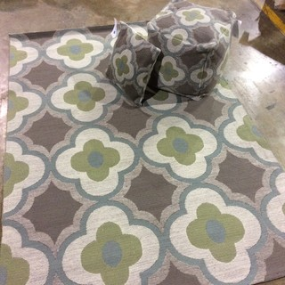 New! Indoor and Outdoor Matching Pillow, Pouf Rug Sets