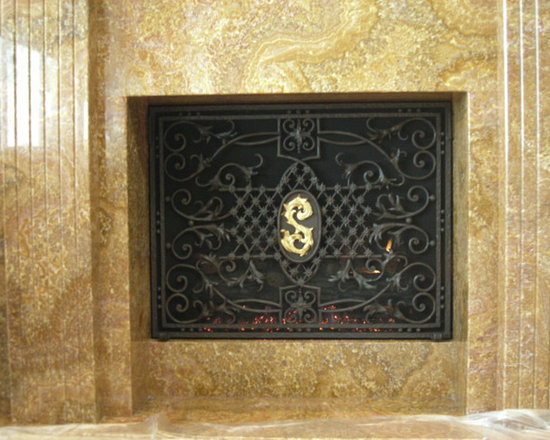 Custom Items - Custom monogram freestanding screen. Can be made as a mounted fireplace doors, custom sizes are available.