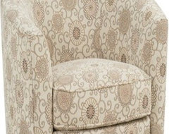 Rowe Baldwin Swivel Chair - Natural Floral modern-living-room-chairs
