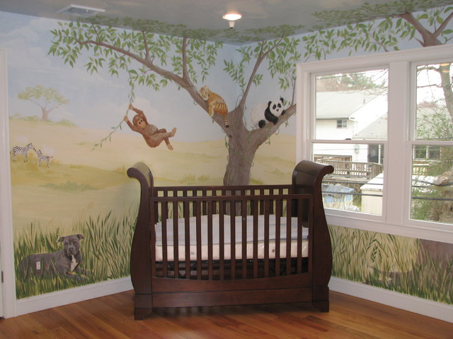 Safari Nursery Mural - Traditional - new york - by Bella Terra Designs, Inc.