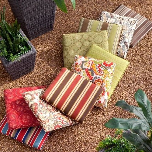 Atrium 19 x 17 Outdoor Furniture Seat Pad Zoe Citrus contemporary outdoor pillows