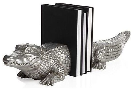 Alligator Bookends rustic-bookends