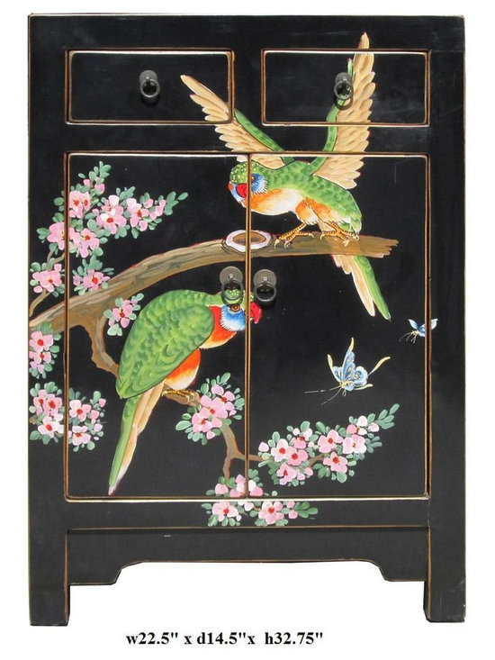 Chinese Black Base Color Birds Graphic End Table - This is a modern end table with black color base color and hand painted colorful birds graphic on the front.
