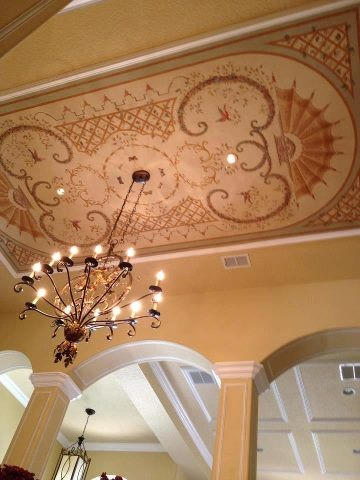 Ceiling mural chandelier dining room traditional for Ceiling mural in smokers lounge