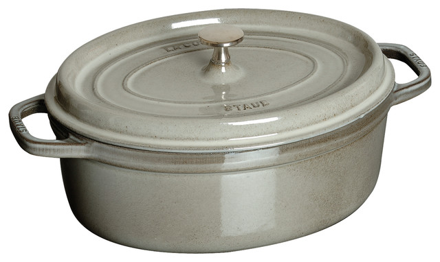 Staub Oval Cocotte, 8.5 Qt., Graphite Grey traditional-dutch-ovens-and-casseroles