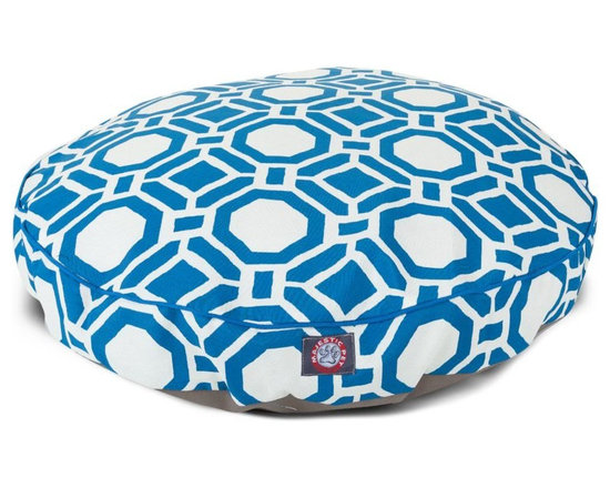 MAJESTIC PET PRODUCTS - Santorini Mosaic Small Round Pet Bed - This stylish rectangular pet bed looks great in any room of your house and is filled with ultra-plush fiberfill for luxurious napping. The removable zippered slipcover is made from outdoor-treated, UV-protected polyester for durability, and the base is made from heavy-duty waterproof 300/600 denier fabric that can go inside or out. Spot clean the slipcover and hang dry. Comes in a variety of colors and patterns, so you can pick the one that complements your decor.