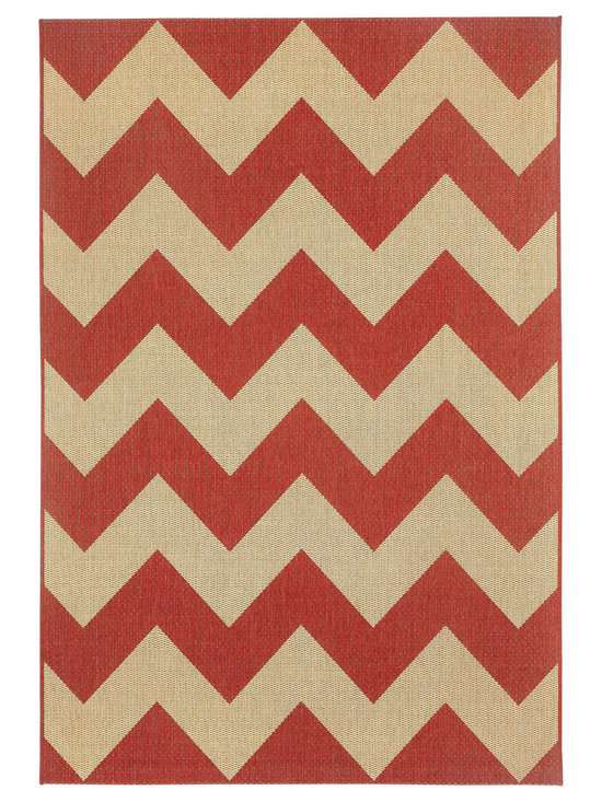 """Finesse Chevron rug in Cayenne - An esteemed """"Capel Anywhere"""" rug collection woven on precision machine looms in Europe. These versatile rugs can be used in high traffic areas indoors - like kitchens and sunrooms - or to dress up covered porches and decks outside."""