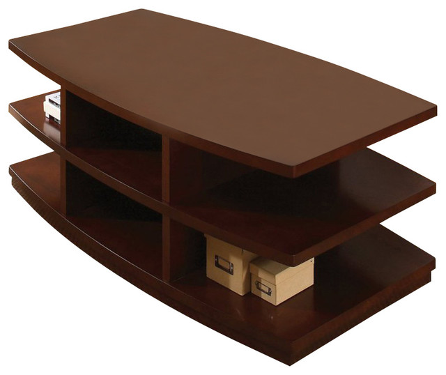 Steve silver citadel 52x28 cocktail table in cherry for Modern cherry coffee table