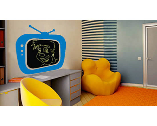 """Writable wall decals - Don't put your kids in front of a regular TV; let them use their imagination with Dezign with a Z """"Chalk TV!"""" chalkboard sticker. This decorative chalkboard decal works exactly as a blackboard; the inner chalkboard comes in black only, but you can from 24 colors for the TV frame. It comes in 4 different sizes and starting price of $48."""