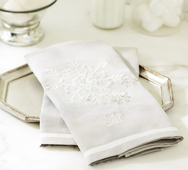 Snowflake Embroidered Guest Towels Contemporary Bath