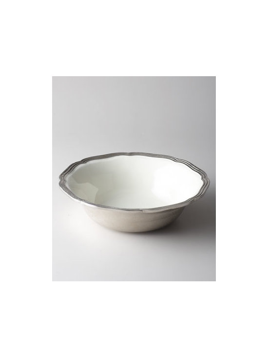 "Horchow - Deville Serving Bowl - Classic serving bowl adds traditional elegance to table settings. A gently scalloped, reeded rim adds a bit of texture to its otherwise smooth appearance. Made of enamel with molded, distressed aluminum edge. Food safe. Hand wash. 14.5""Dia. x 4.5""T...."