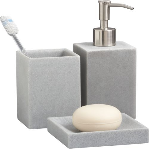 Stone resin bath accessories modern bathroom for Grey bathroom accessories set