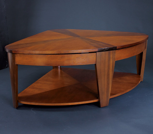 Oasis Wedge Lift-Top Cocktail Table in Rich Medium Brown Finish coffee-tables