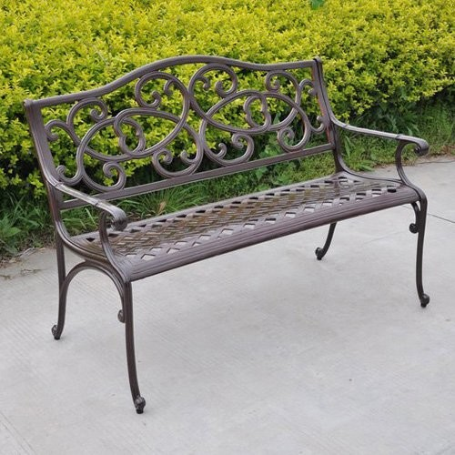 Wisteria Cast Aluminum Outdoor Bench modern outdoor stools and benches