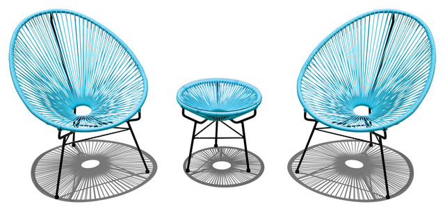 Acapulco 3 Piece Retro Patio Chat Set, Glacier Blue modern-outdoor-lounge-sets